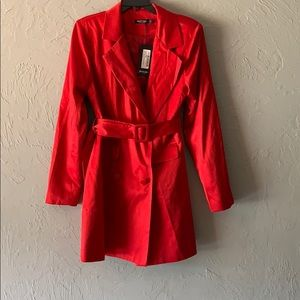 Satin trench coat dress